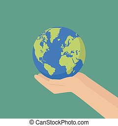 Hand with earth globe