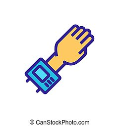 hand with electric display tonometer icon vector outline illustration