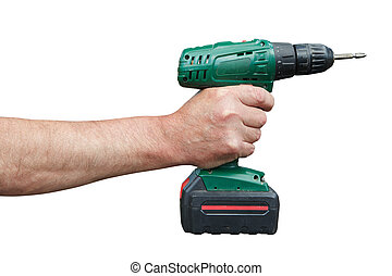 Hand with electric drill