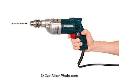 Hand with electric drill.