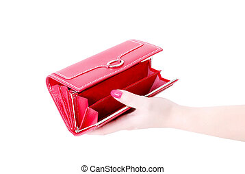 hand with empty purse feminine red 3