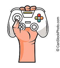 hand with ergonomic video game control