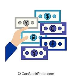 hand with euro dollar yen ruble yuan money