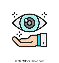 Hand with eye, optical clinic flat color line icon. - Vector...