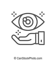 Hand with eye, optical clinic line icon.