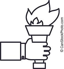 hand with fire torch,achieving goal vector line icon, sign, illustration on background, editable strokes