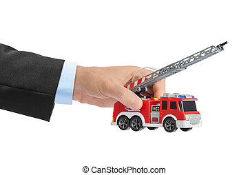 Hand with fire truck