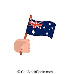 hand with flag australia icon on white background