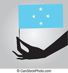 Hand with flag Micronesia