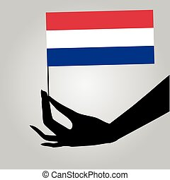 Hand with flag Netherlands