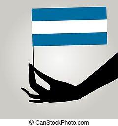 Hand with flag Nicaragua