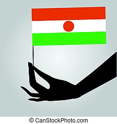 Hand with flag Niger