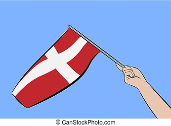 Hand with flag of Denmark