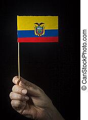 Hand with flag of Ecuador
