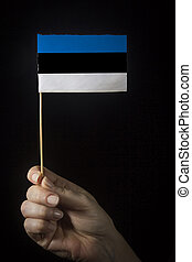 Hand with flag of Estonia
