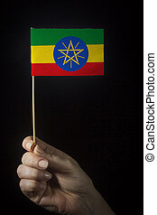 Hand with flag of Ethiopia