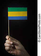 Hand with Flag of Gabon