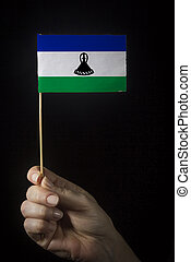 Hand with flag of Lesotho
