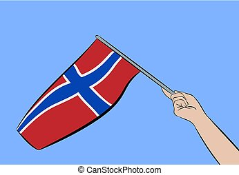Hand with flag of Norway
