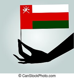 Hand with flag Oman