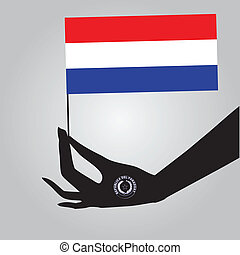 Hand with flag Paraguay