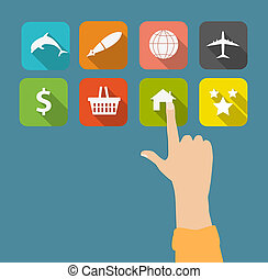 Hand with flat icons vector illustration