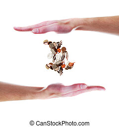 Hand with floating coins - White Caucasian hand holding ...