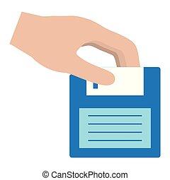hand with floppy disk retro icon