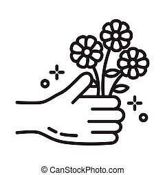 hand with flowers line style icon
