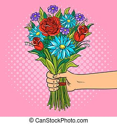 Hand with flowers pop art vector illustration