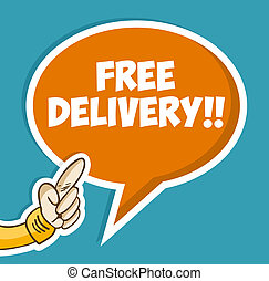 Hand with Free delivery bubble