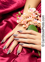 Hand with french manicure