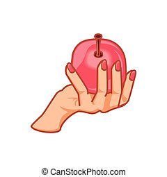 hand with fresh apple fruit