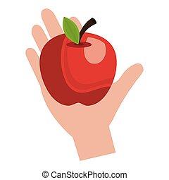 hand with fresh apple