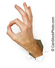 The hand with a gesture - Ok isolated on a white background