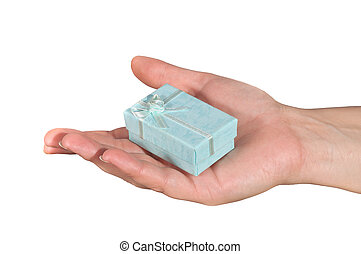 Hand with gift box