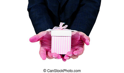 hand with gift isolated on white background