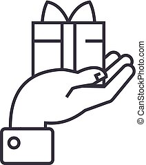 hand with gift vector line icon, sign, illustration on background, editable strokes