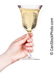 Hand with glass of champagne isolated on a white