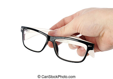 Hand with glasses on a white background isolated