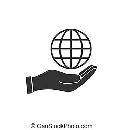 Hand with global icon. Vector illustration, flat design.