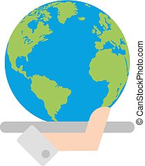 hand with global planet vector
