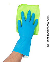 hand with glove using cleaning mop to clean up the floor