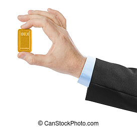 Hand with gold bar