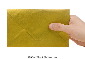 hand with gold envelope