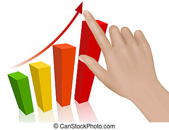 Hand with graph. Concept of success