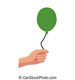 hand with green balloon helium float icon
