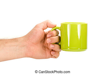 Hand with green cup