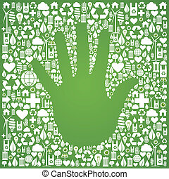 Hand with green icons background