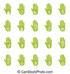 Hand with green leaf logo elements